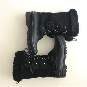 KHOMBU Leather Manmade Black Snow Boot Size 9M